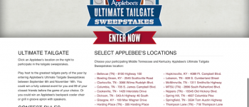Applebee s Tailgate Sweepstakes